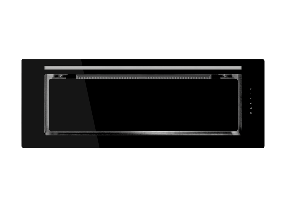 SchweigenIN KLS-9GLASSBLKSEL 900mm Black Glass Undermount Slient Rangehood