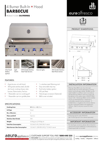 Euro Appliances EAL900RBQ 4 Burner Built-In BBQ & Hood
