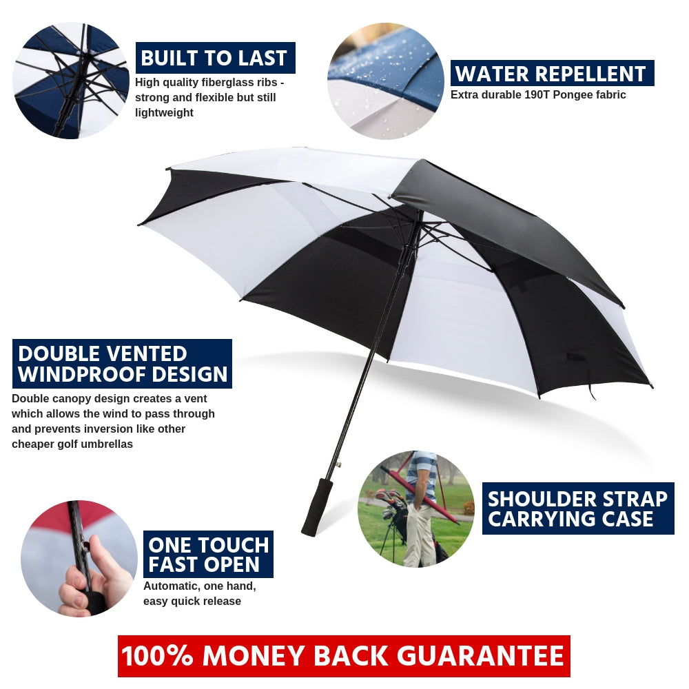 c5af4aa8fb32a8 ... Load image into Gallery viewer, 62 Inch Automatic Open Golf Umbrella -  Black/White ...
