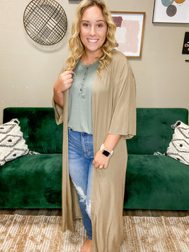 Lightly Ribbed Taupe Duster