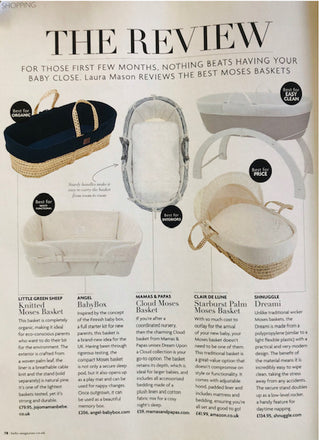 Angel Babybox listed as 'BEST for MULTIFUNCTIONAL' on Baby Magazine October Moses Basket review!