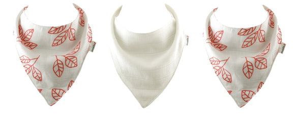 3pk Luxurious Bamboo/Organic Cotton Muslin Dribble Bibs White/Coral Leave Print