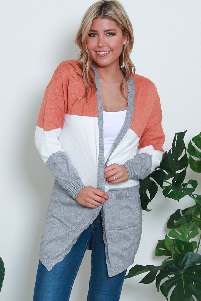 ADDISON CARDIGAN- Burnt Orange, White & Light Grey