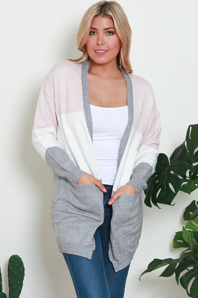 ADDISON CARDIGAN- Light Pink , White & Light Grey