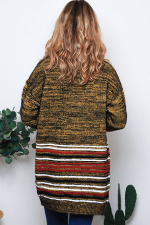 ADLEY CARDIGAN-Mustard with Red & White Stripes