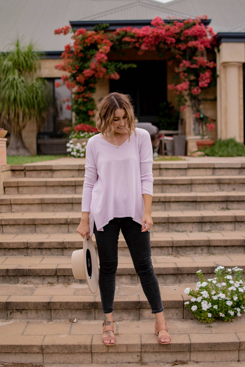 ANNA SIDE SPLIT OVERSIZED TOP-Lilac