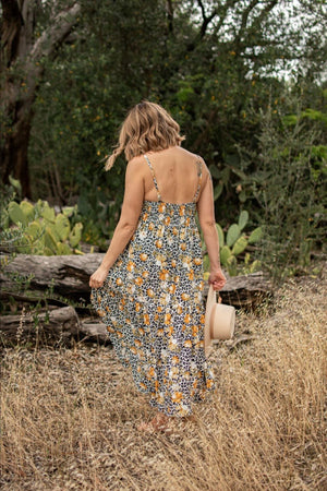 ARLO SWING DRESS-Mustard floral leopard