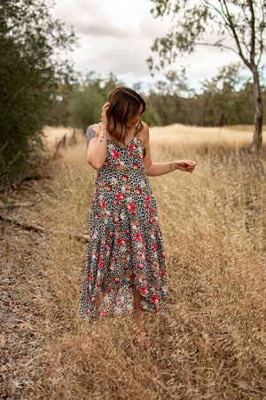 ARLO SWING DRESS-Red floral leopard