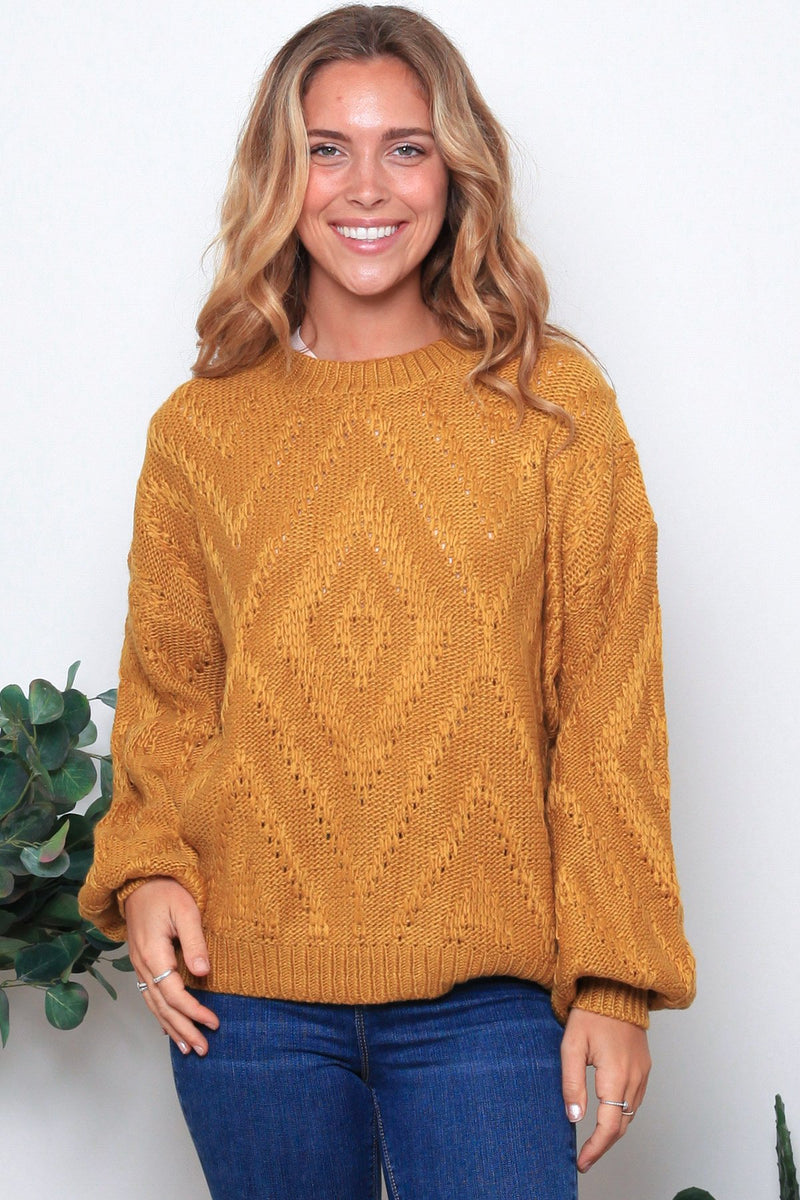 BLAKELY KNITTED JUMPER-Mustard