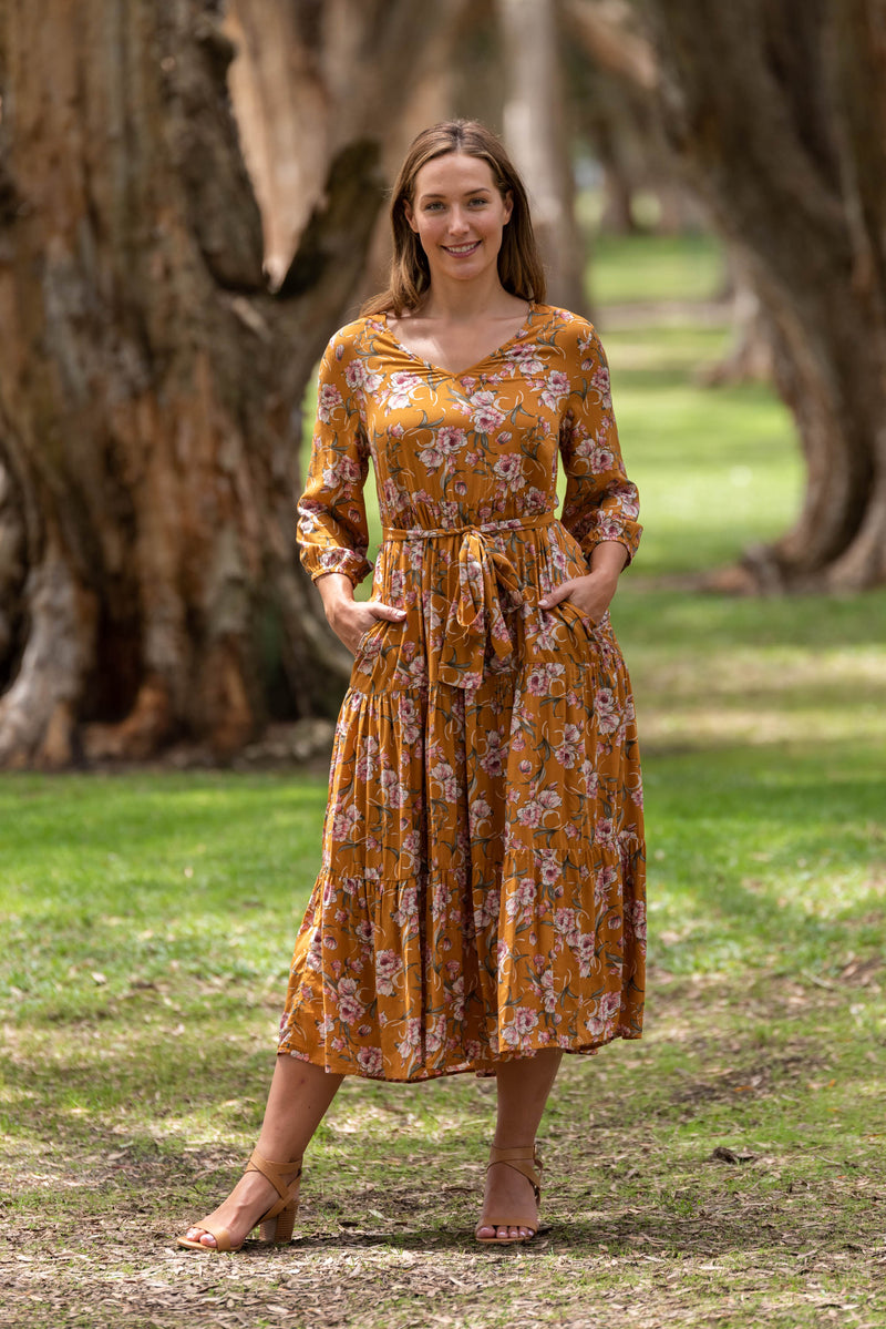 BROWNYN TIER MIDI DRESS-Inca Gold with Floral print