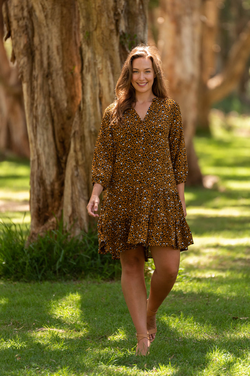 COLLETTE DRESS-Mustard Animal Print