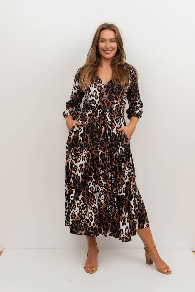 JANAT MIDI DRESS-Brown Animal Print