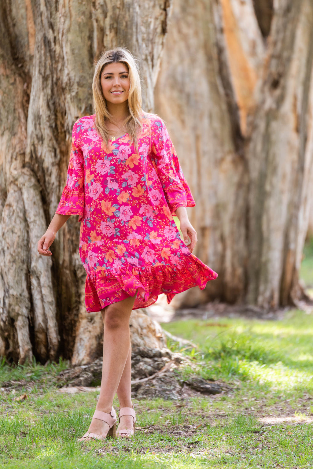 Cotton and style lottie dress rose pink