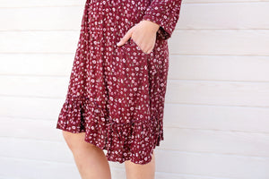 cotton and style mandy knee length dress wine 3