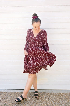 cotton and style mandy knee length dress wine 6