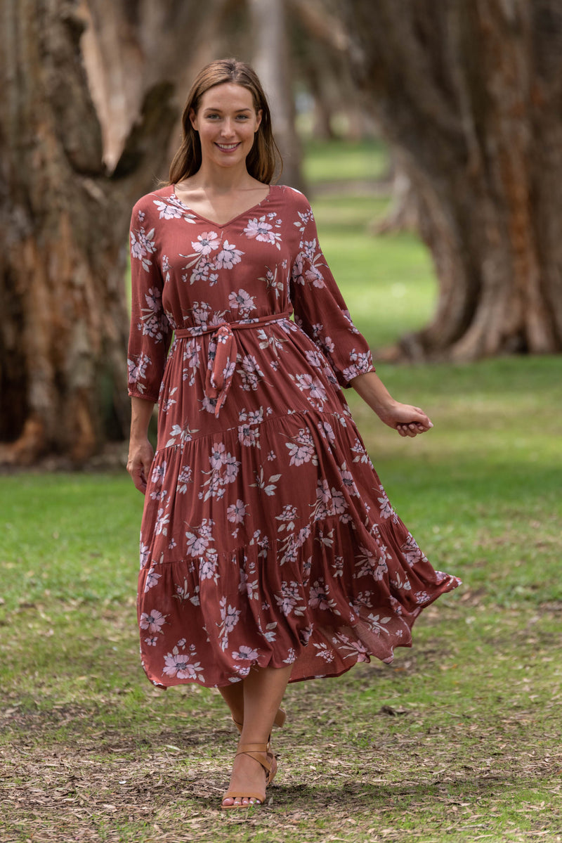 MELISSA TIER MIDI DRESS-Sunburn with Floral print