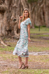 ZYNA TIER MIDI DRESS-Mint green