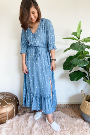 Cotton and Style dotti polka dress blue
