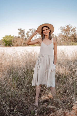 Eve frayed hem midi dress oatmeal