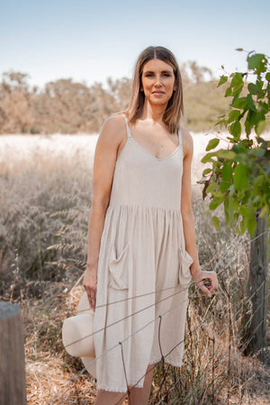 Eve frayed hem midi dress oatmeal 3