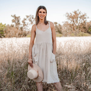 Eve frayed hem midi dress oatmeal 5