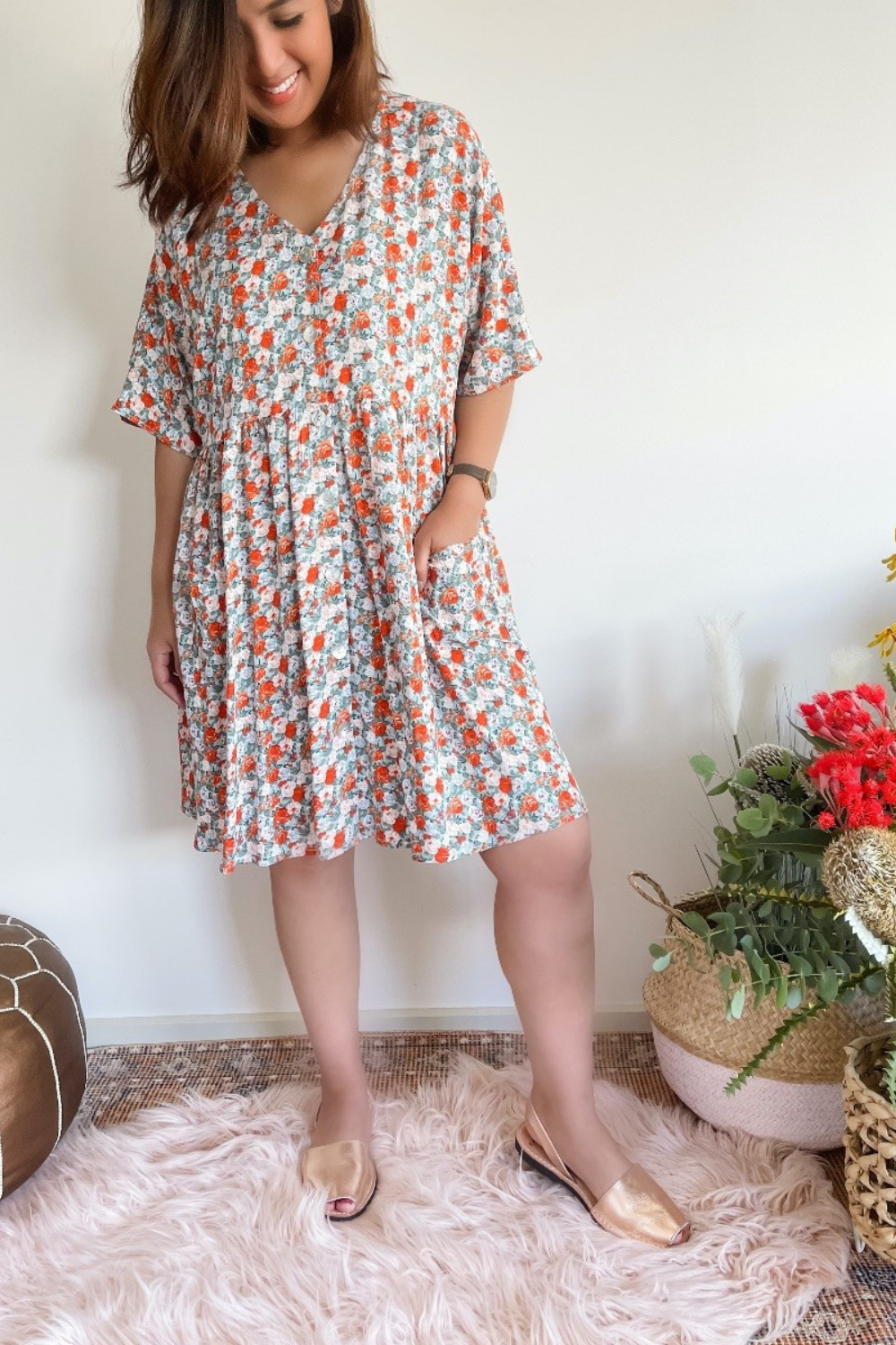 lucy short dress sage with floral print