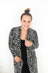 Cotton and Style steph cardigan black white zebra print