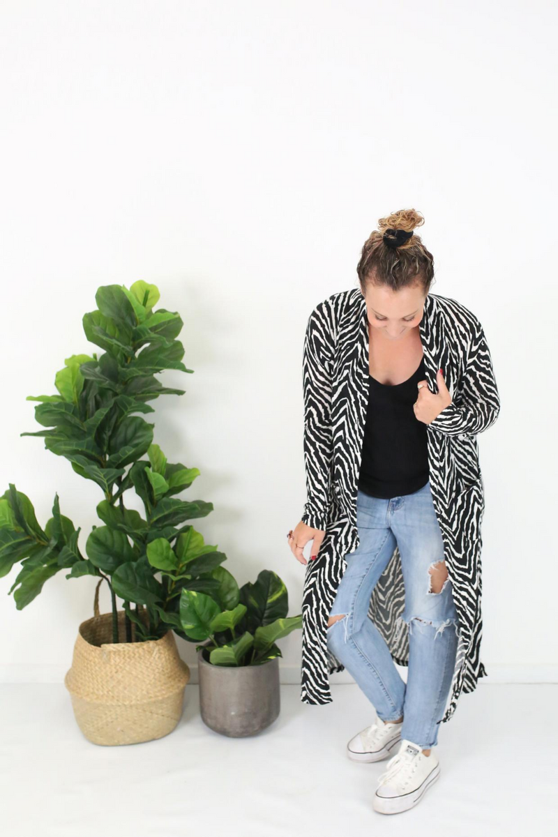 Cotton and Style steph cardigan black white zebra print 3