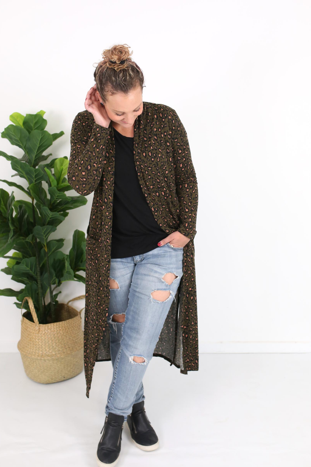 Cotton and Style steph cardigan khaki animal print 1