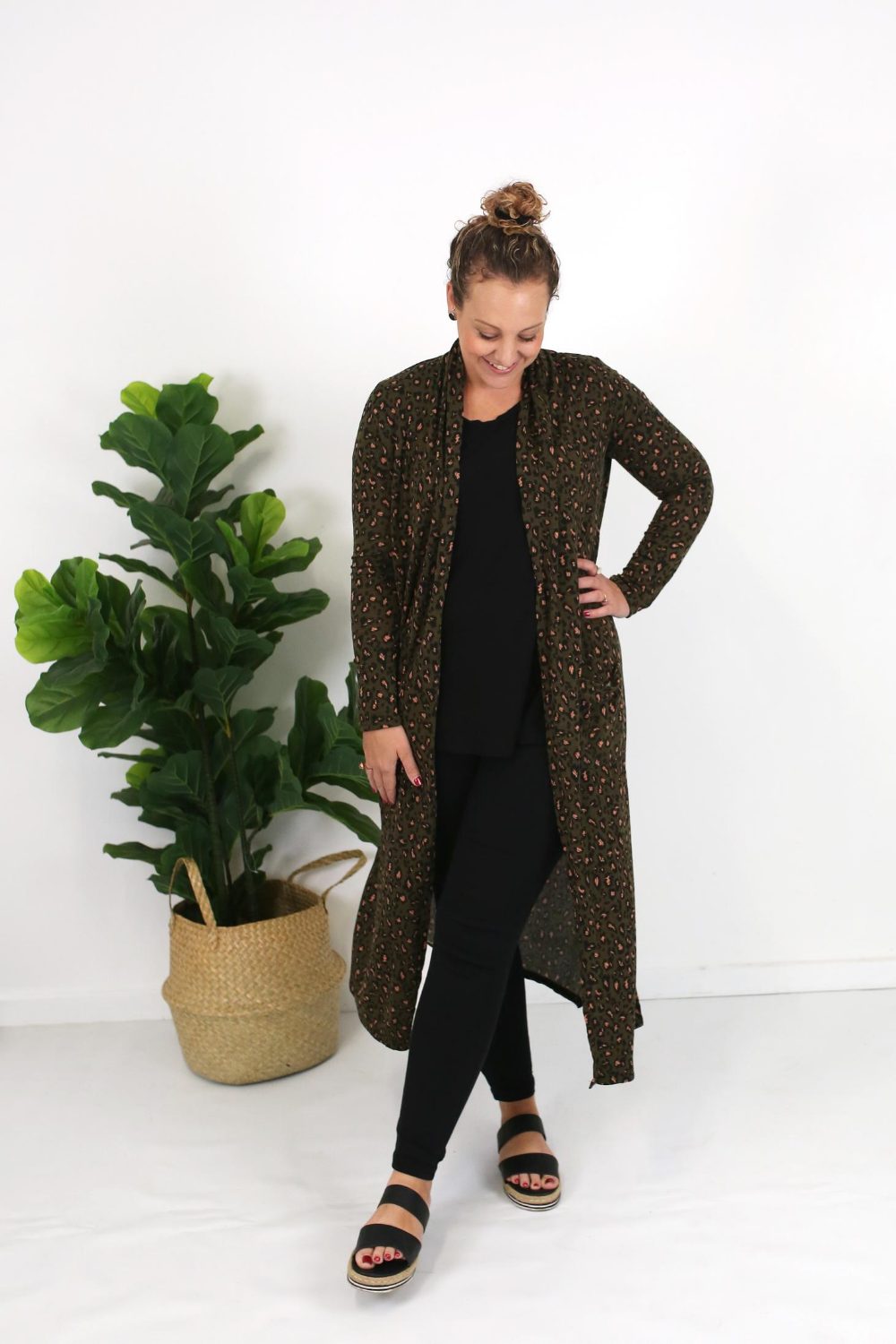 Cotton and Style steph cardigan khaki animal print 3