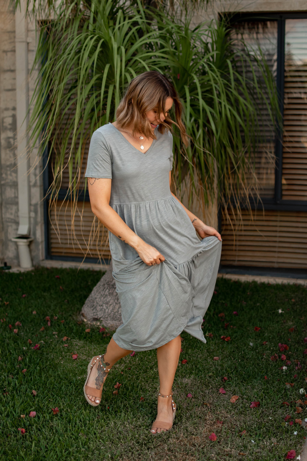cotton and style eden dress olive