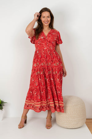 Rosso tier dress red
