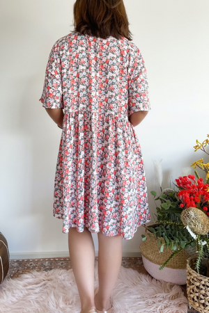 lucy short dress pink with floral print