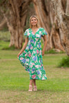 Saylor midi dress green floral 2