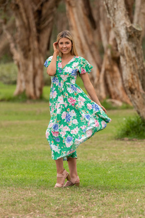 Saylor midi dress green floral