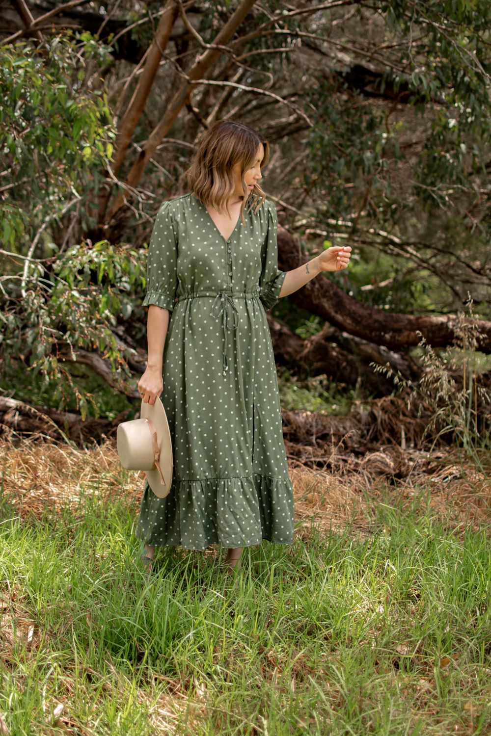 DOTTIE POLKA DOT LONG DRESS-Khaki