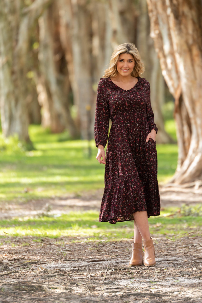 cotton and style jakai midi dress wine 2