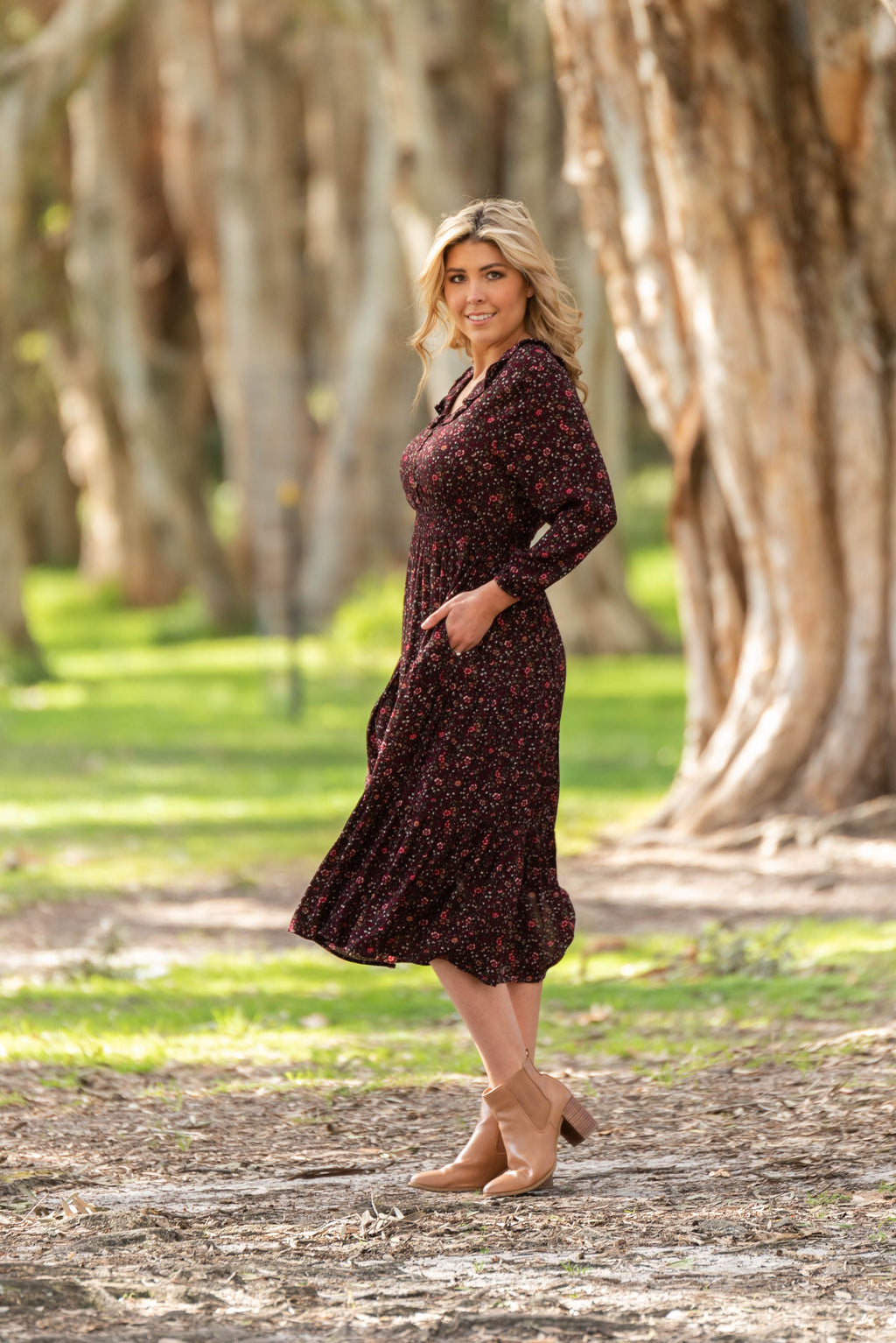 cotton and style jakai midi dress wine 4
