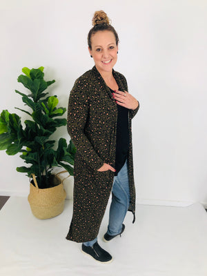 Cotton and Style steph cardigan khaki animal print another view
