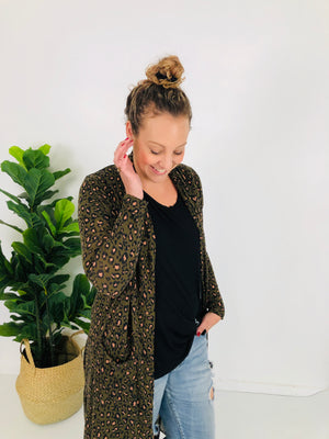 Cotton and Style steph cardigan khaki animal print