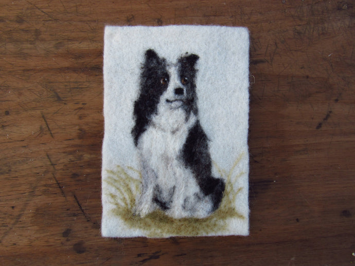 Border Collie Mini Portrait: Original Felted Art
