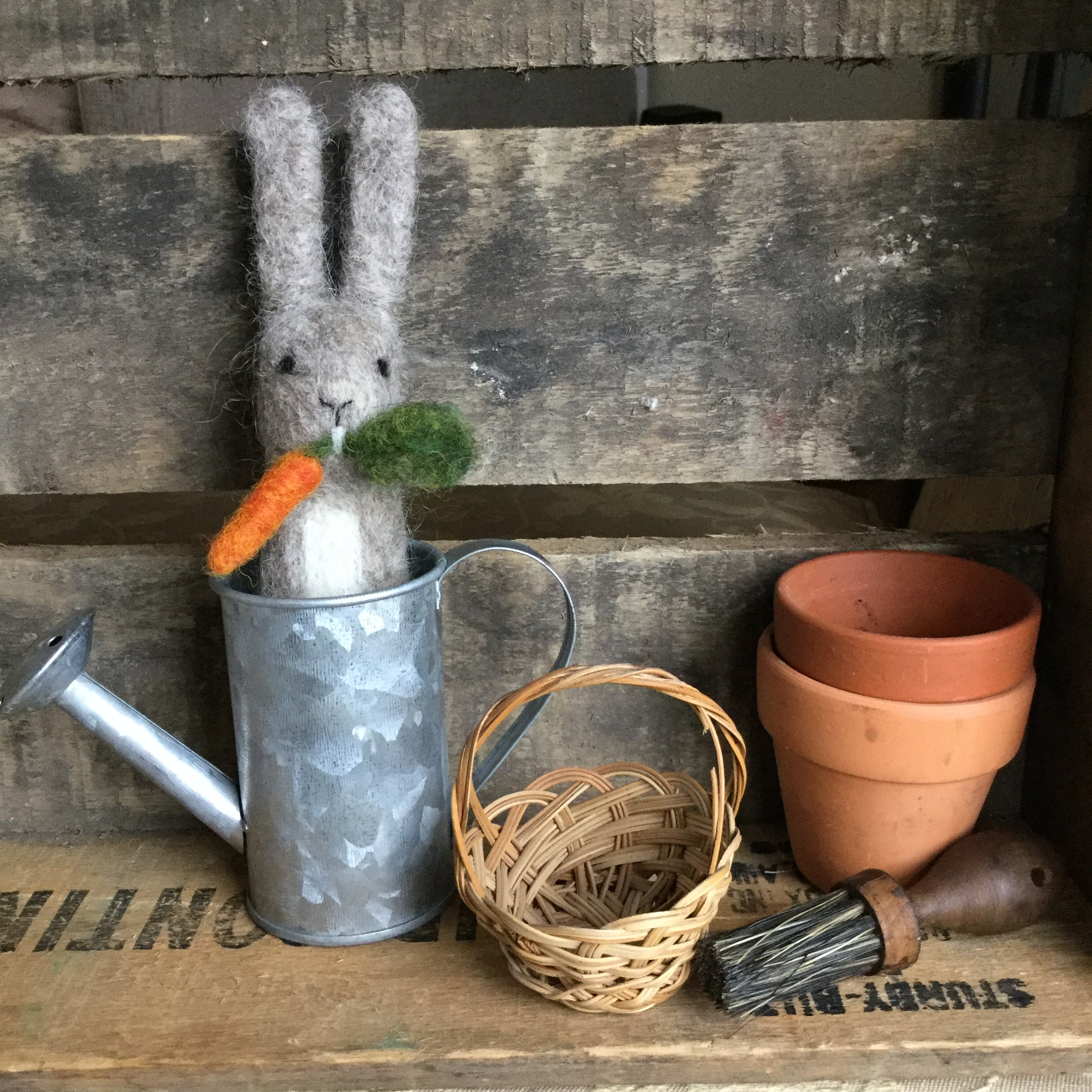 Watering Can Rabbit with Carrot