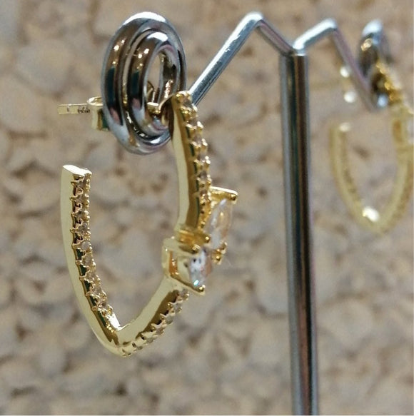 sterling silver with yellow gold hoop cz earrings