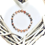 Sunstone and Jasper stacking bracelet . Crystal rock