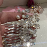 Bridal Swarovski and pearls hair piece