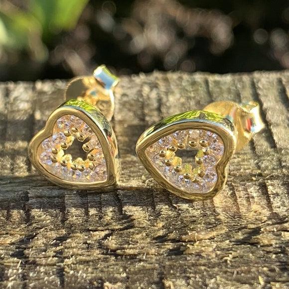 Sterling silver Cz heart stud earrings