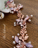 Rose gold hair vine with pink opal stones