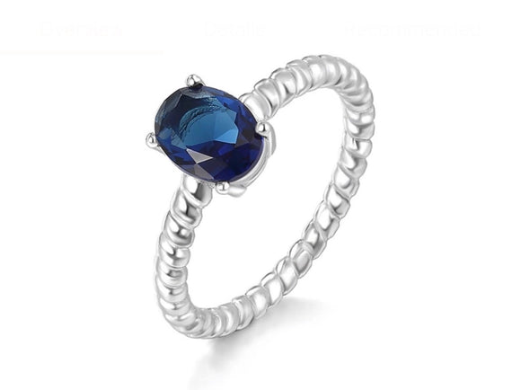 Sterling silver ring blue sapphire coloured stone