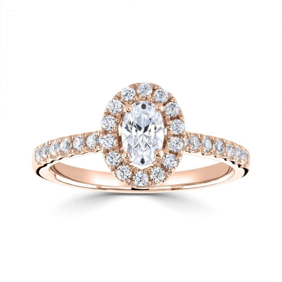 Oval Solitaire with Halo diamond ring Mount. Engagement ring