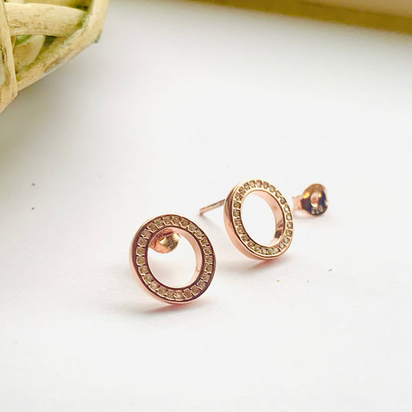 Sterling silver with rose gold circle earrings